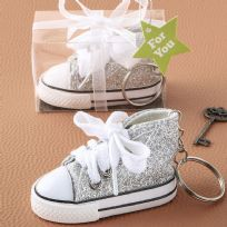 Oh-So-Cute Silver Sparkle Hi-Top Key Ring